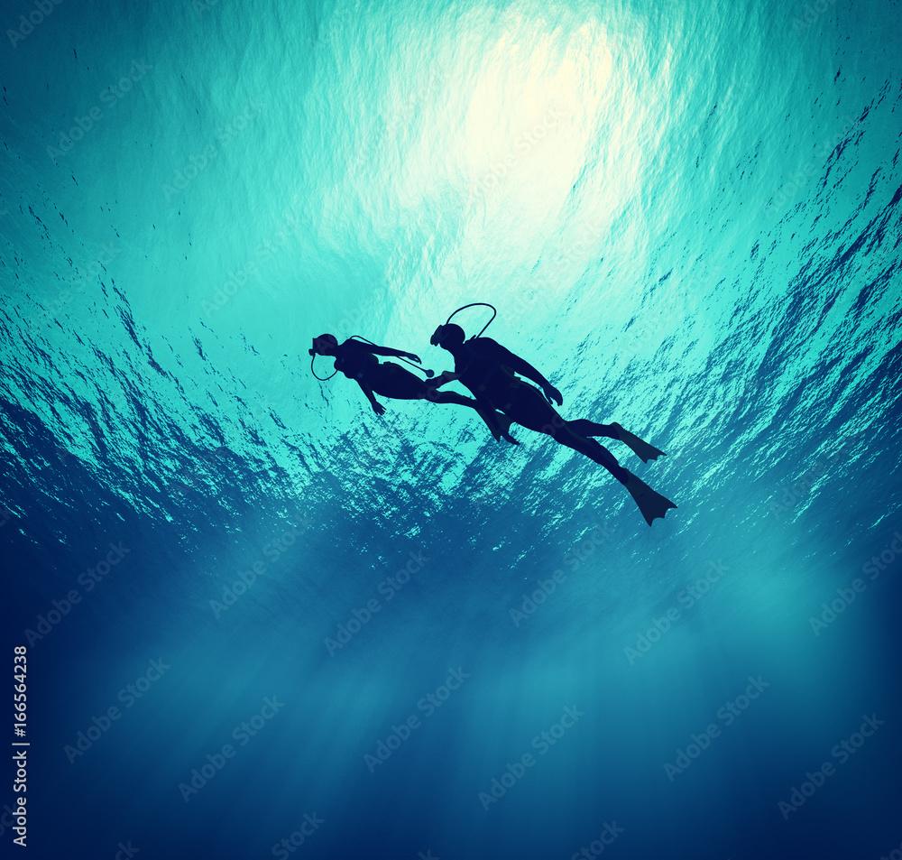 Fototapeta Dives swim under wate