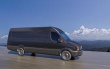 Black Commercial Van On Highwa...