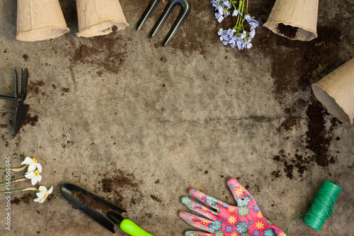 Fototapeta Garden Inventory Tools, Peat Pots And Flowers On Old Wooden Gray Board With Ground. Copyspace And Top View. obraz