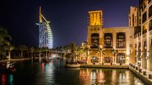 Cityscape Of Jumeirah Beach With Burj El Arab Hotel. Dubai, United Arab Emirates
