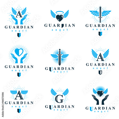 Foto  Holy spirit graphic vector logotypes collection, can be used in charity and catechesis organizations