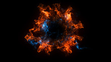 Abstract Background With Shockwave Explosion On Black Backdrop. Technology 3d Render