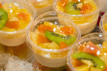 Jelly Pudding Fruit Salad In Bowl.