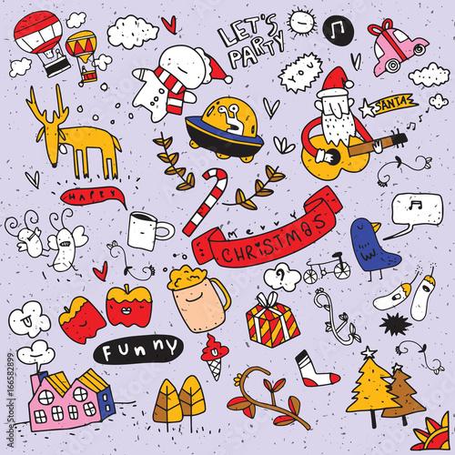 Poster de jardin Route set of Christmas design element in doodle style