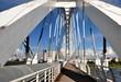 Weiße Ramstore-Brücke über den Fluss Ishim in Astana