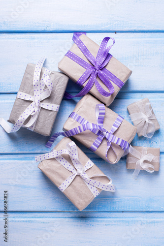 Different festive gift boxes with presents