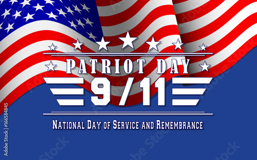 Fotografia  Vector Patriot Day background with US flag and lettering