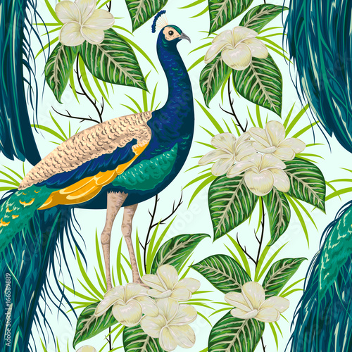 bezszwowy-wzor-z-pawiem-kwiatami-i-liscmi-reka-starodawny-wektor-ilustracja-w-stylu-przypominajacym-akwarele