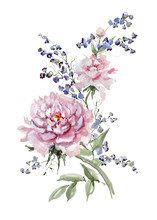 Fresh Pink Peonies And Small B...
