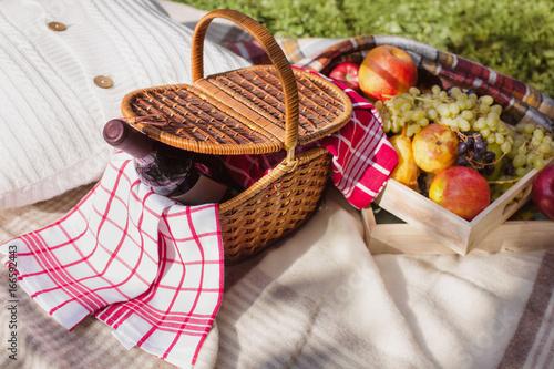 Plakat kosz piknikowy żółty pomarańczowy czerwony zielony owoce winogronowe jabłka przytulny plaid poduszki tło