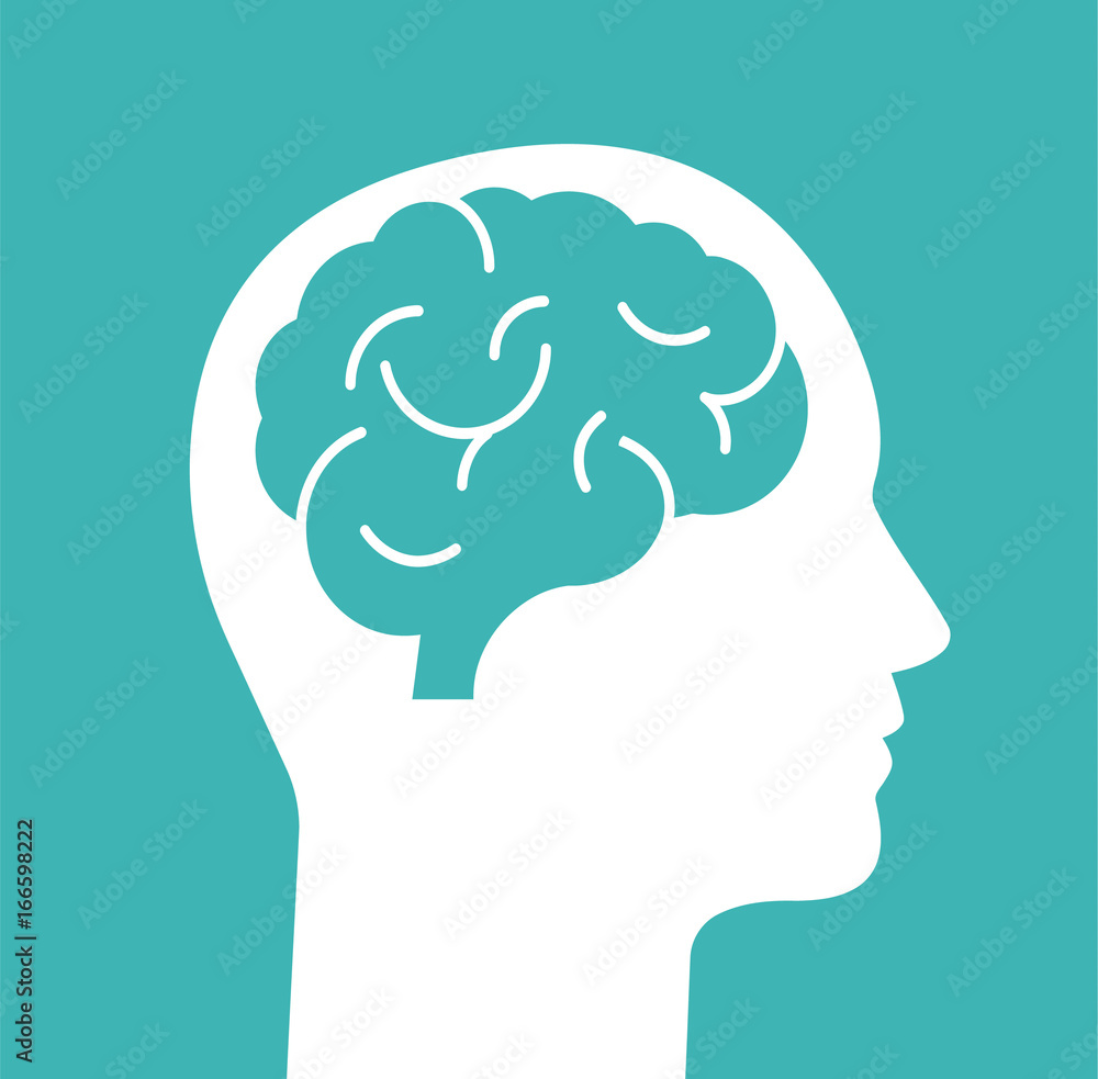 Fototapeta Human head with brain. Head with brain isolated on background. Vector stock.