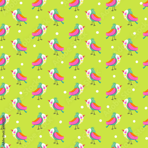 fototapeta na szkło Seamless background with bright bird