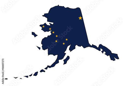 Alaska State Outline Map and Flag Canvas Print