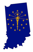 Indiana Outline Map And Flag
