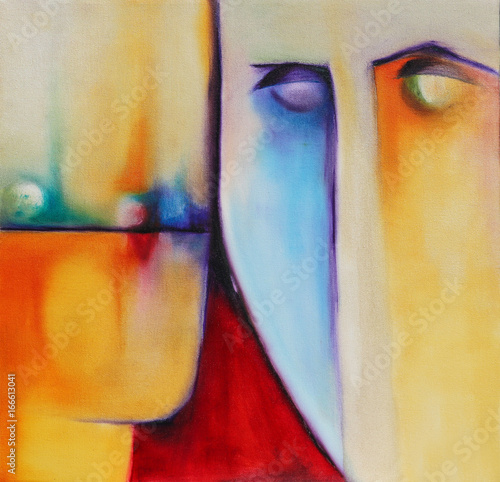Two colorful abstract surreal faces illustration Wallpaper Mural