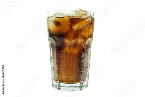 Cola favour soft drink in clear glass isolated on white background Canvas Print