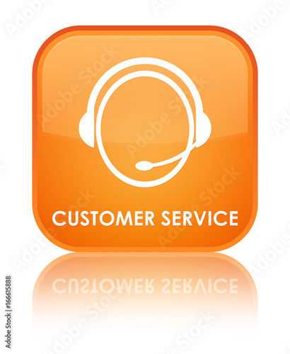 Customer service (customer care icon) special orange square
