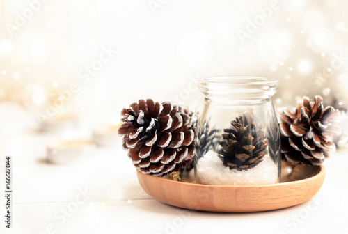 Beautiful winter home natural decor background Fototapet