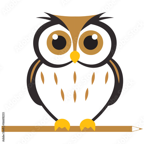 Tuinposter Uilen cartoon owl illustration