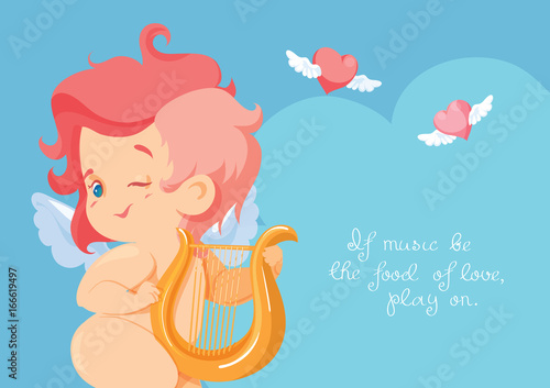Foto op Canvas Regenboog Cupid hunting with archey bow flying hearts. Cupid playing music