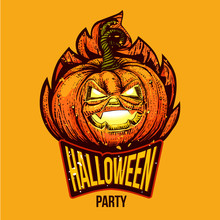 Halloween Party Lettering Logo...