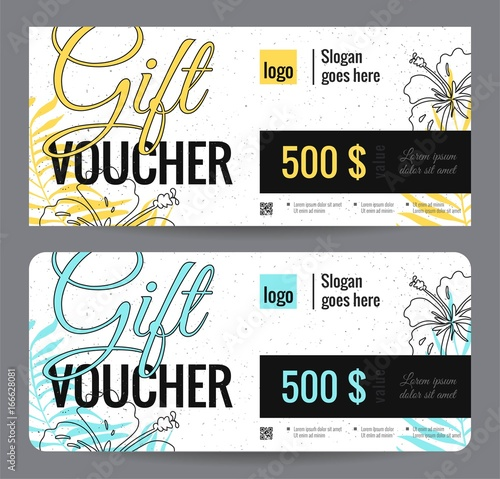 elegant gift certificate template with floral background shopping concept - Shopping Certificate Template
