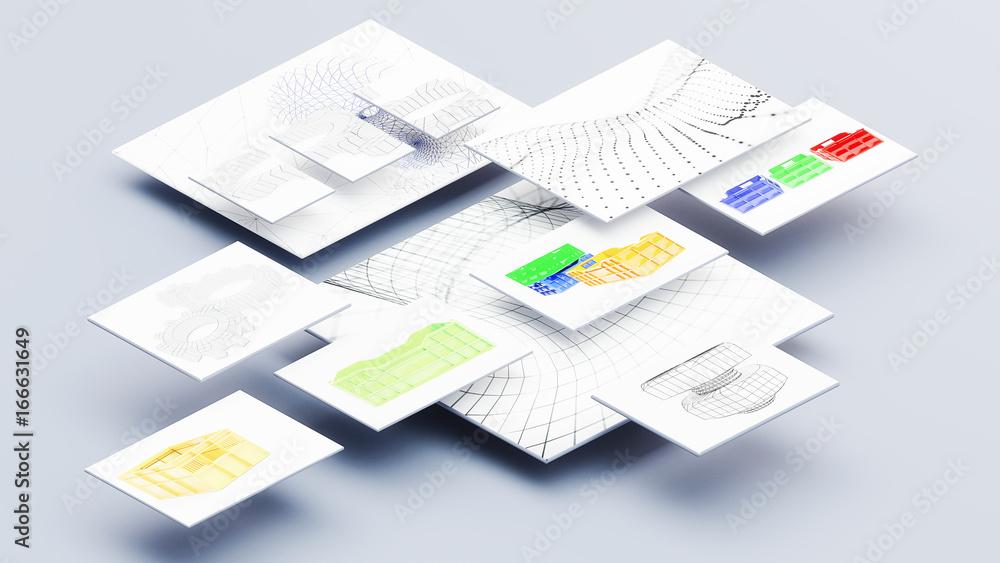 Fototapety, obrazy: graphic design mockup 3d illustration