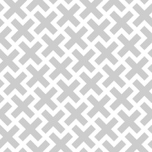 Abstract Seamless Pattern Background. Mosaic Of Grey Geometric Crosses With White Outline. Vector Illustration.