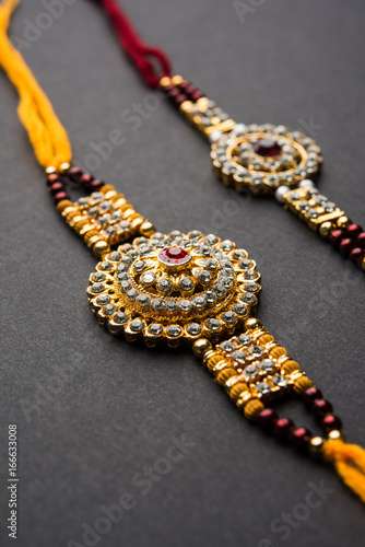 Raksha Bandhan Greeting Rakhi And Gift With Sweet Kaju Katli Or