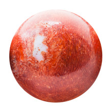 Ball From Pressed Red Coral With Nacre Piece