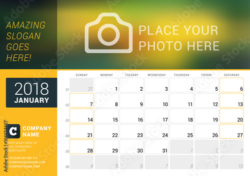 calendar planner for january 2018 vector design template with place for photo week starts