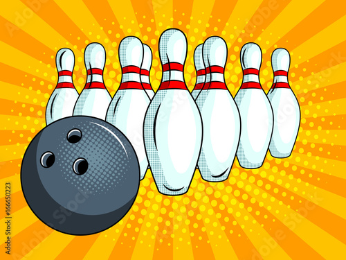 Skittles and bowling ball pop art style vector Fototapeta