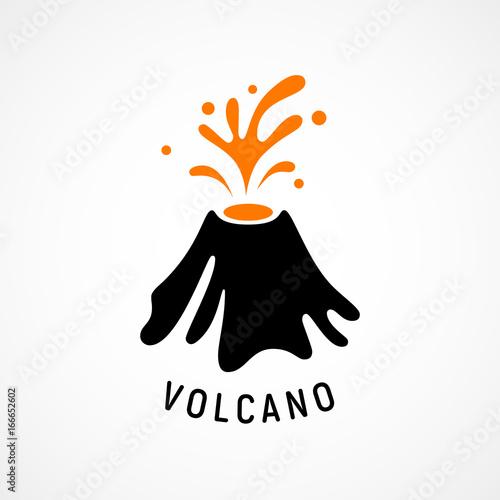 Erupting volcano icon Fototapete