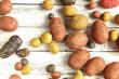 viele Kartoffeln verschiedene Sorten Tisch overhead bunt rot gelb lila