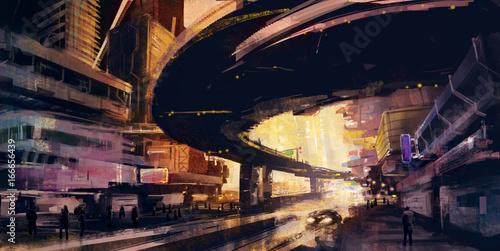 Abstrakcjonistyczna ilustracja Miastowy pejzaż miejski przy zmierzchem