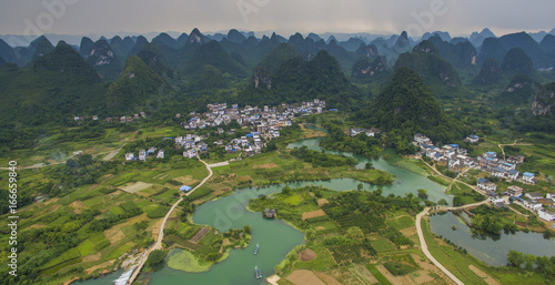 Printed kitchen splashbacks River Aerial view of a village surrounded by karst and padi fields in Yongshua County China