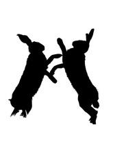 Fighting Hares, Vector Silhoue...