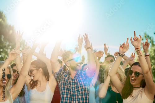 Photo sur Aluminium Magasin de musique Group of people dancing at summer festival, hands raised
