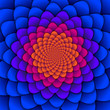 Leinwanddruck Bild - Abstract background. Spiral flower pattern in red and blue. Abstract Lotus Flower. Esoteric Mandala Symbol.