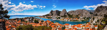 Panoramic View Of The Omis On Adriatic Sea Surrounded By High Mountains With Amazing Canyon Of River Cetina, Dalmatia, Croatia.