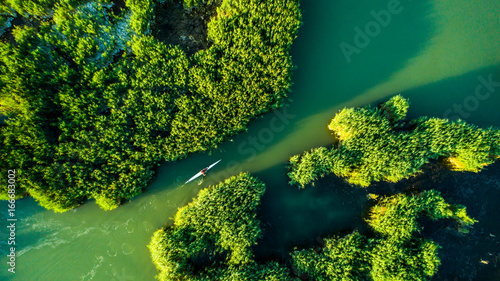 Poster Printemps Aerial view Reeds island in the lake on Hungary, Sukoro, Velence.