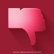 Flat metallic social network 3D icon. Red Glossy Metal Thumb Down on Red background. EPS 10, vector.