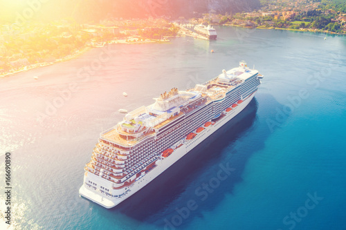 Top view of a beautiful cruise liner in the bay