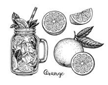 Ink Sketch Of Orange Beverage