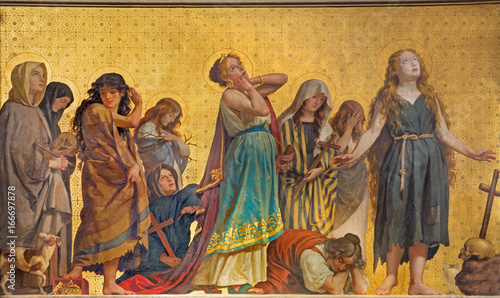 TURIN, ITALY - MARCH 15, 2017: The symbolic fresco of holy women confessants in church Chiesa di San Dalmazzo by Enrico Reffo (1831-1917) Wallpaper Mural