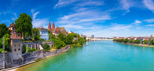The Old Town of Basel with red stone Munster cathedral and the Rhine river, Switzerland Canvas Print