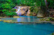 Erawan Waterfall Is A Beautiful Waterfall In The Tropical Forest.
