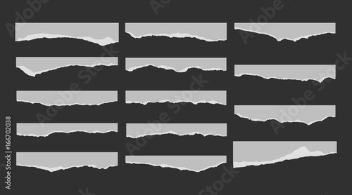 Fototapeta A set of 14 torn pieces of paper. Detail traced edges with villi paper. Vector illustration. obraz