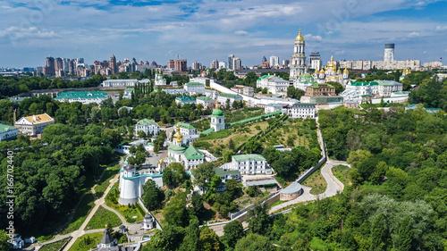 Staande foto Kiev Aerial top view of Kiev Pechersk Lavra churches on hills from above, Kyiv city, Ukraine