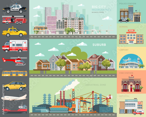 Cuadros en Lienzo Big city concept. Infrastructure vector set